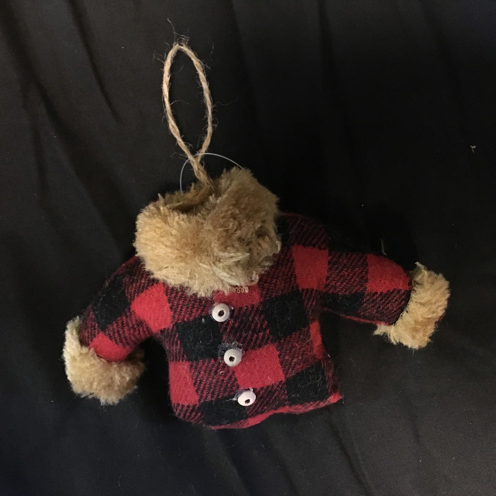 Plaid Coat w/Fur Ornament