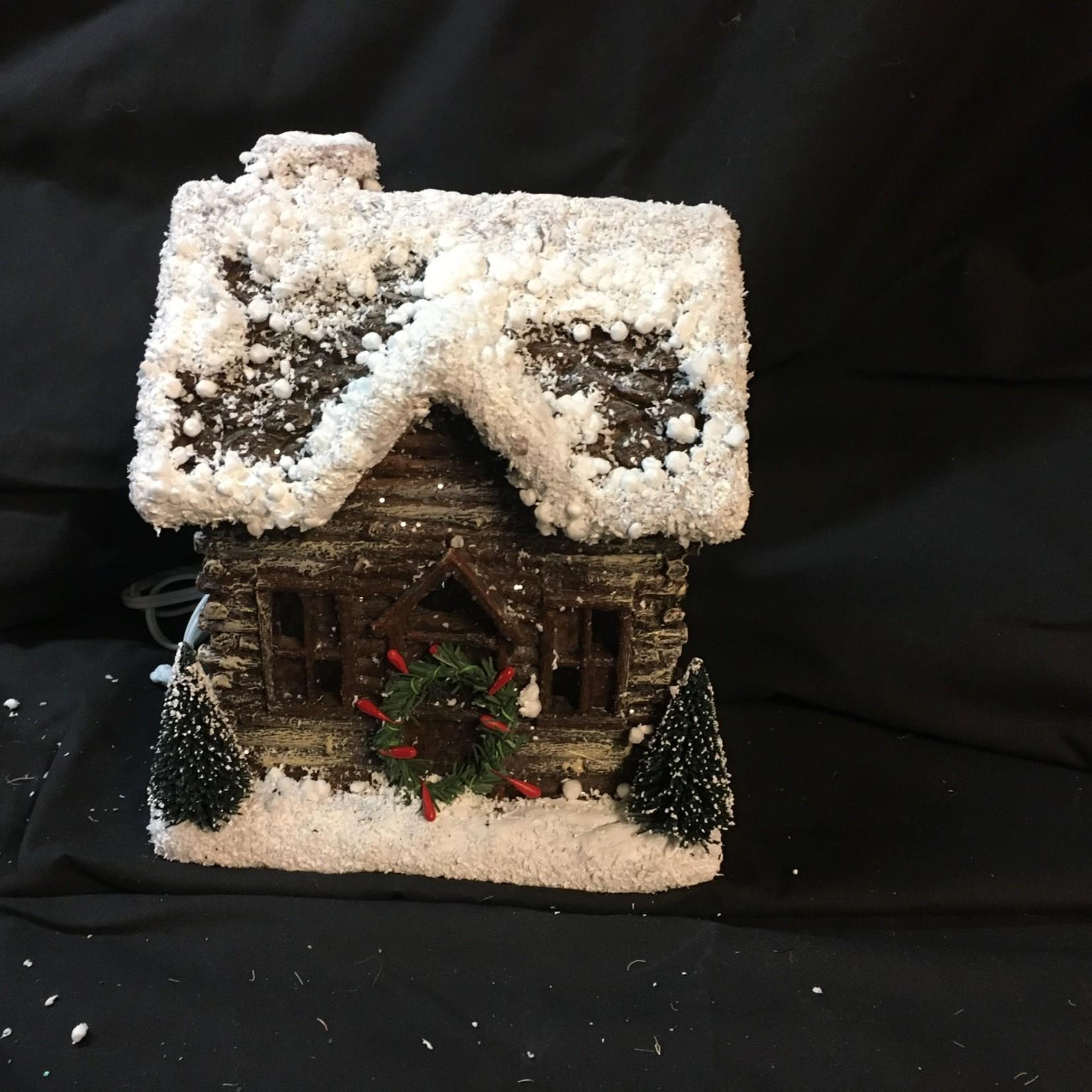 "8"" Light Up Log House (box)"