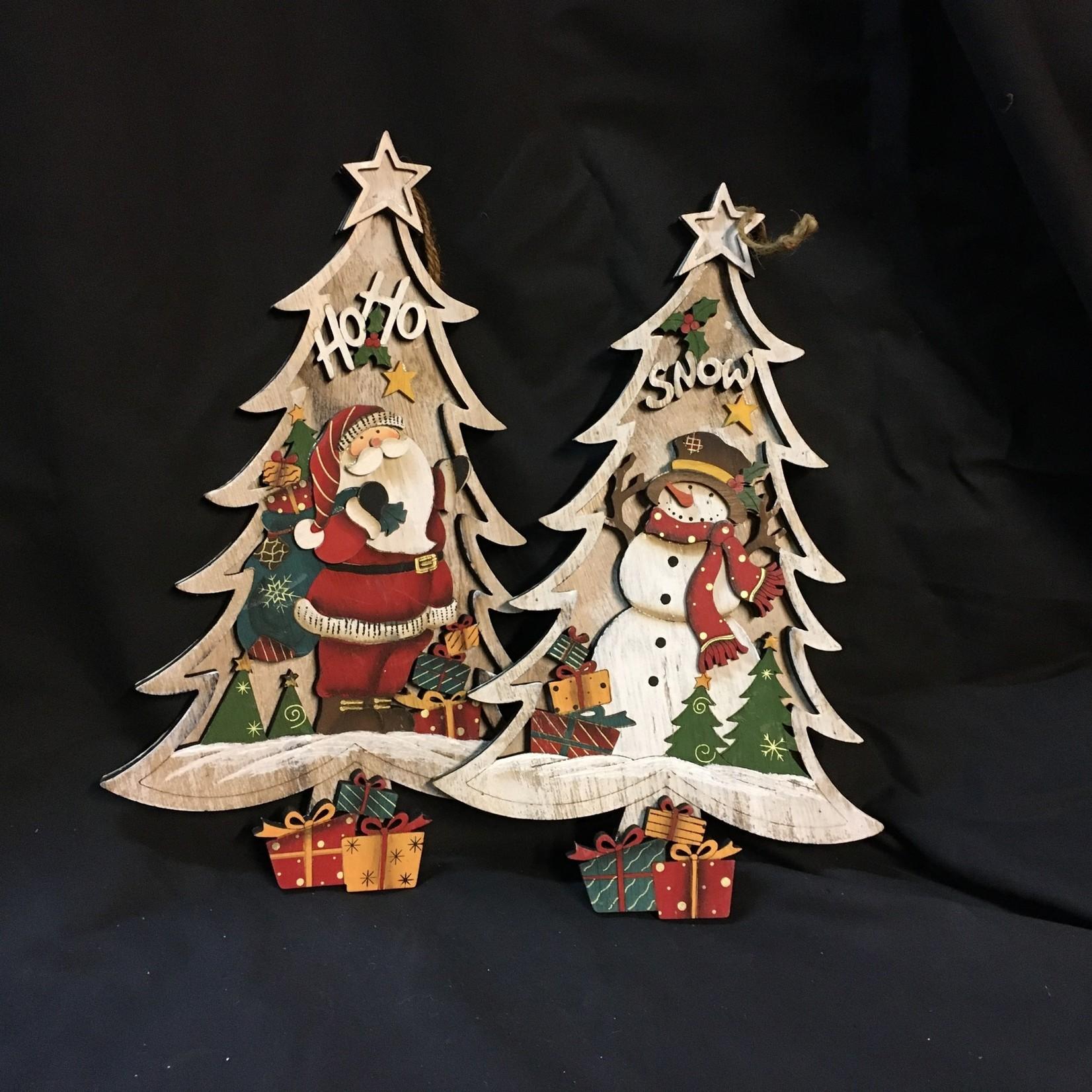"""11"""" Snowman/Santa Wood Tree Orn 2A"""