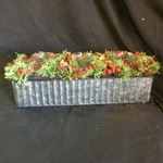 "15"" Rect. Pine/Berry Tealite Holder"