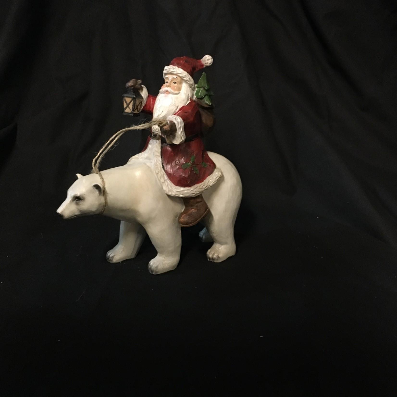 """8.5"""" Santa Riding Polar Bear (box)"""