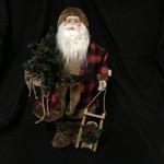 """18"""" Plaid Santa w/Tree"""