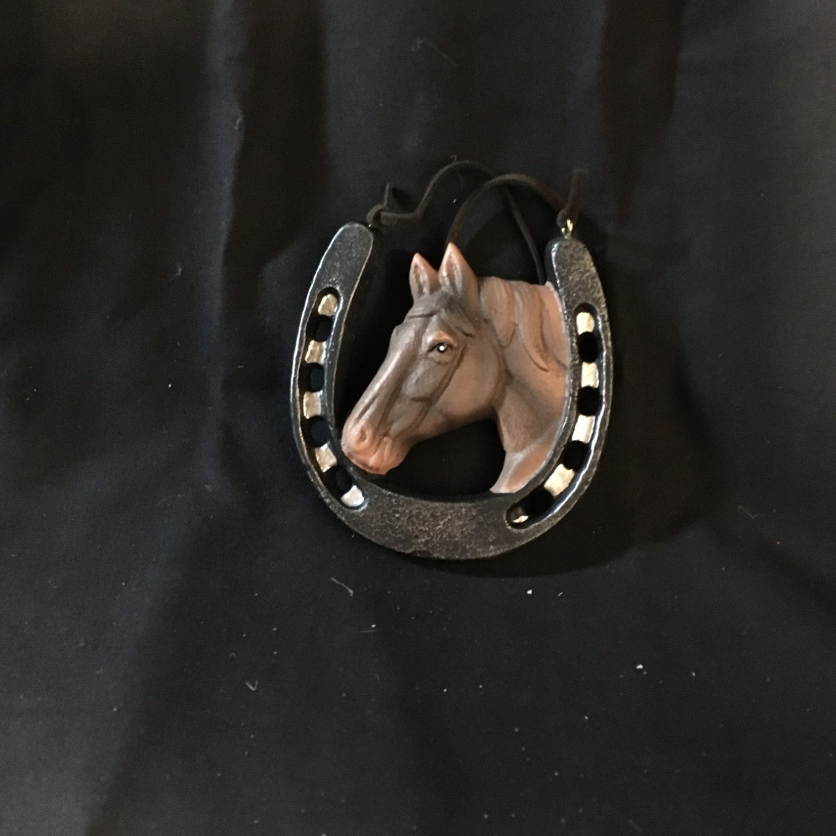 Horse Head in Horse Shoe Orn