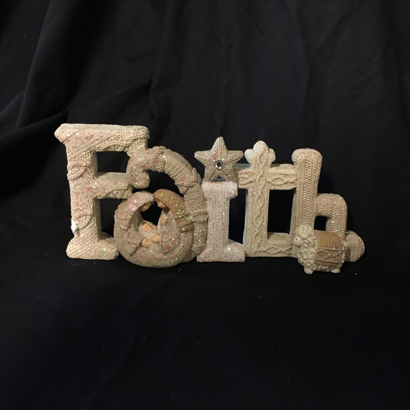 """10x5"""" Knit Look Faith"""
