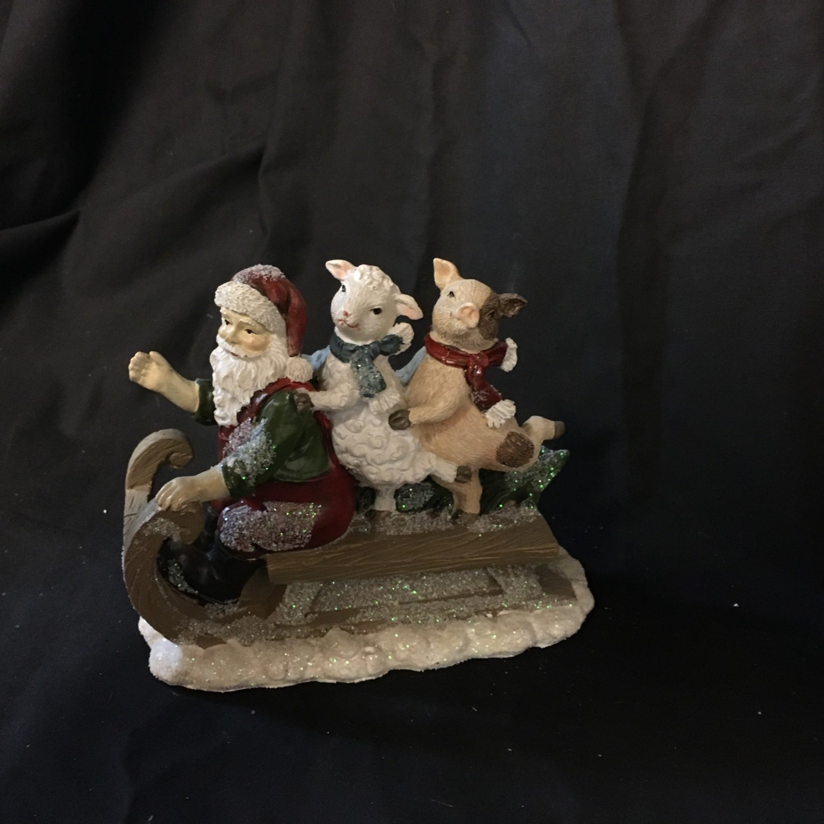 "6.5x5"" Santa w/Sheep & Pig on Sled Figurine"