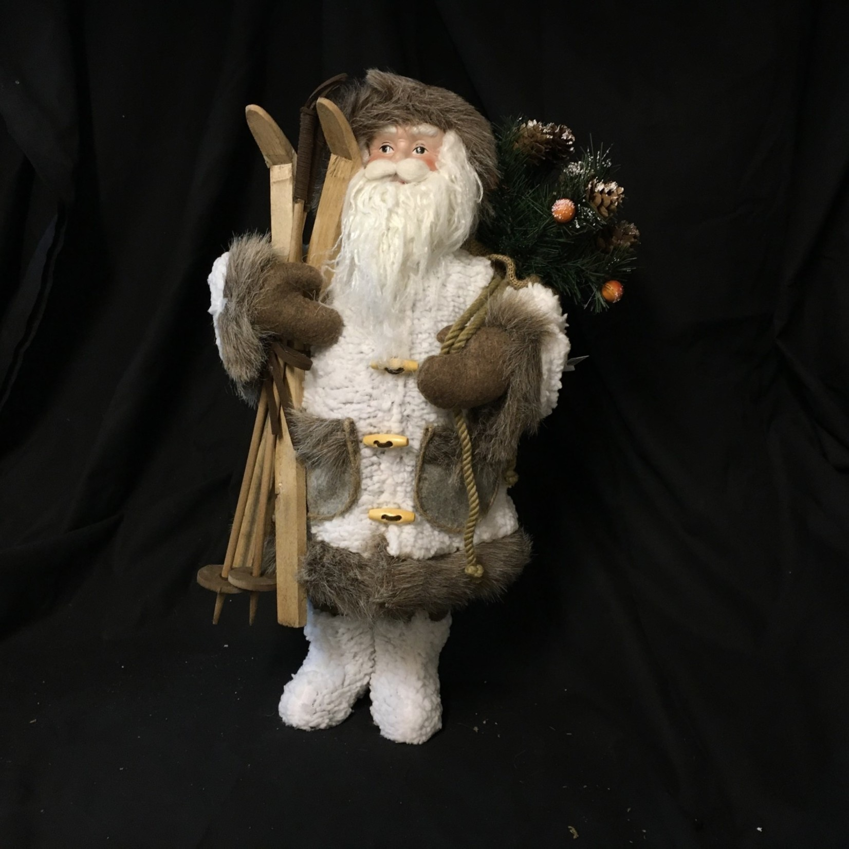 "18"" White Santa w/Cross Country Skis"
