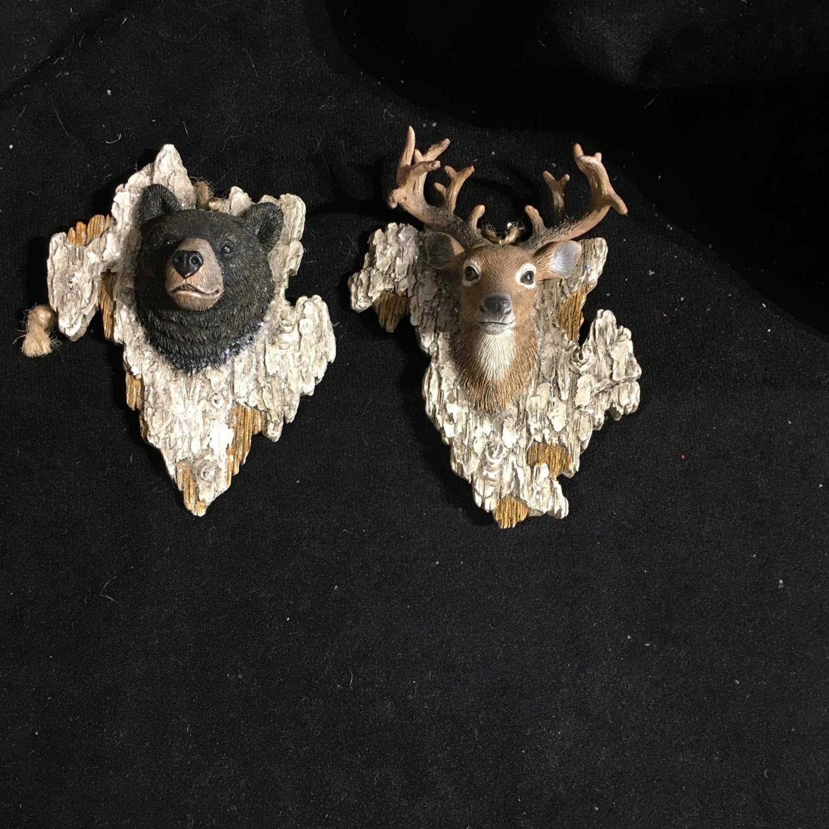 **Animal Head on Bark Ornament 2A