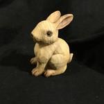 """5.5"""" Wood Look Sitting Rabbit Figurine"""