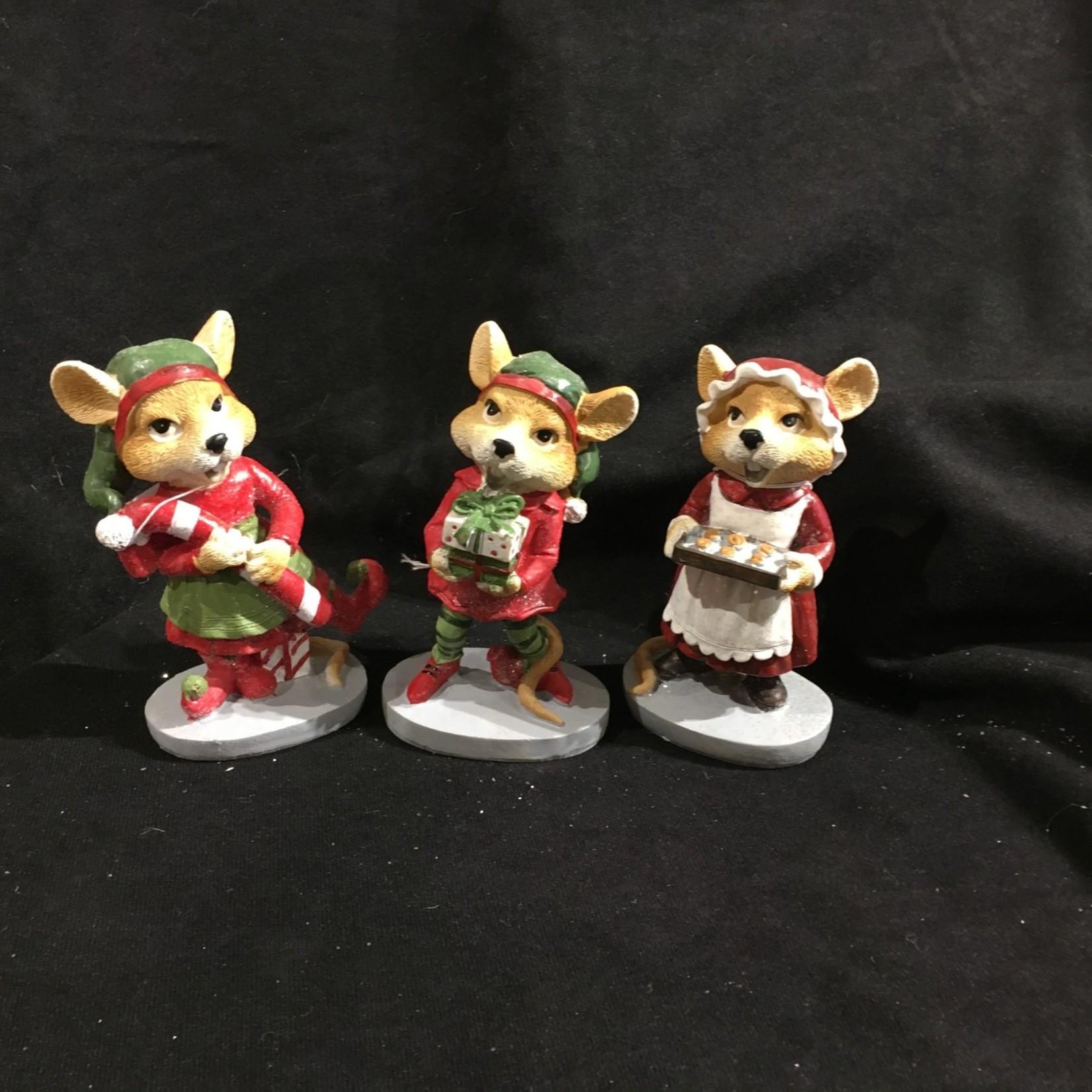 "**5"" Holiday Mice Figurine 3A"