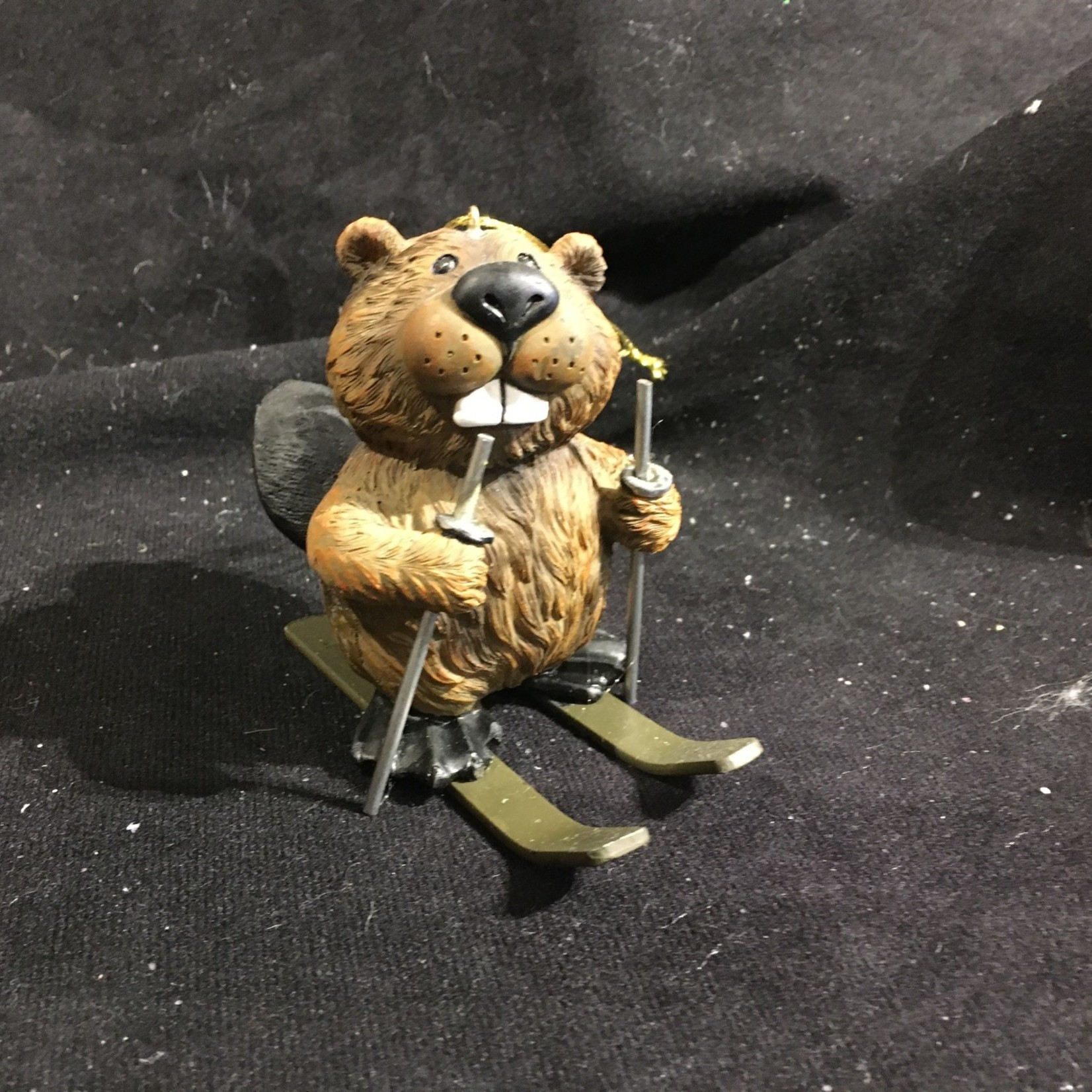 Beaver Skiing Ornament