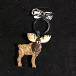 Whimsical 3D Moose Wood Key Chain