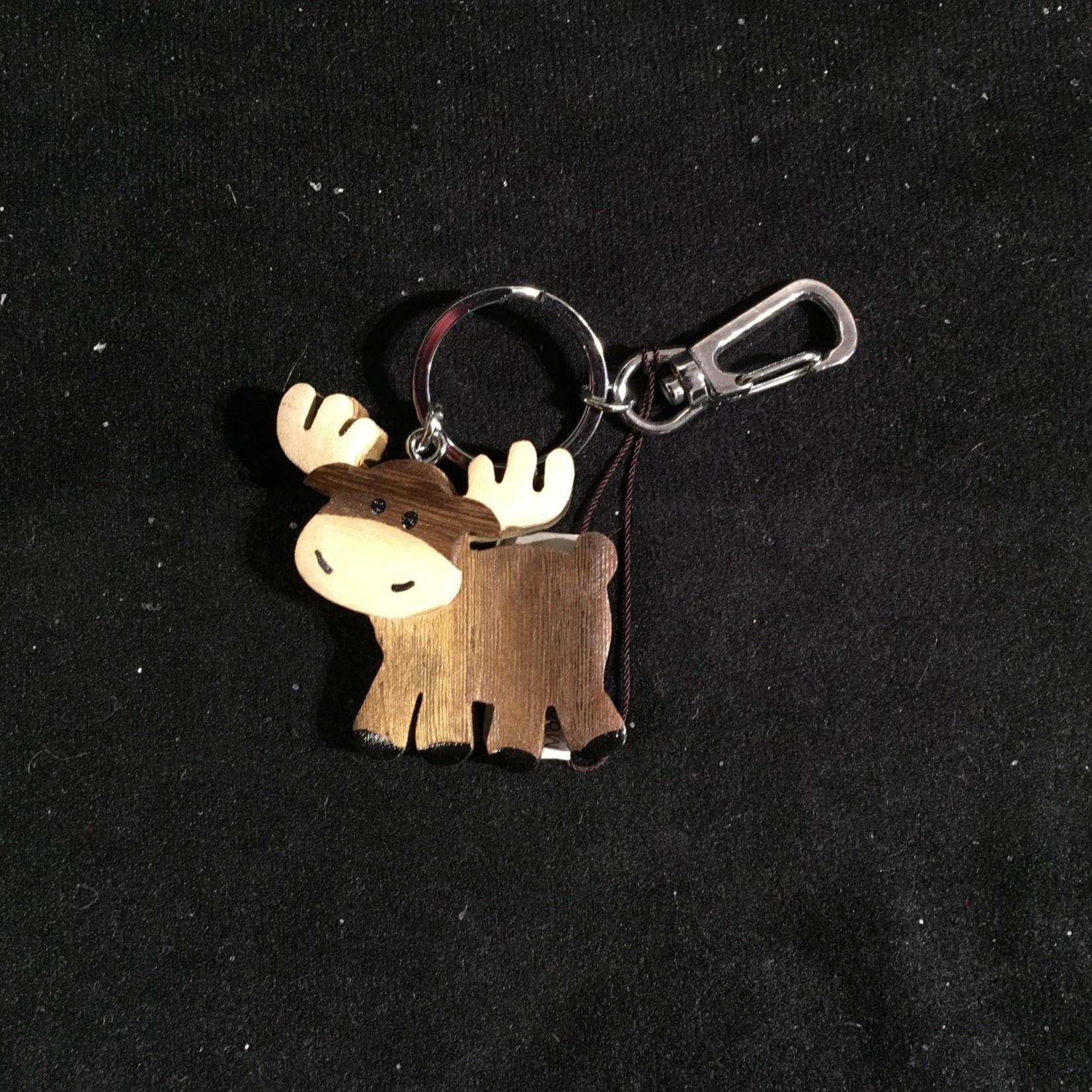 Whimsical Moose Wood Key Chain