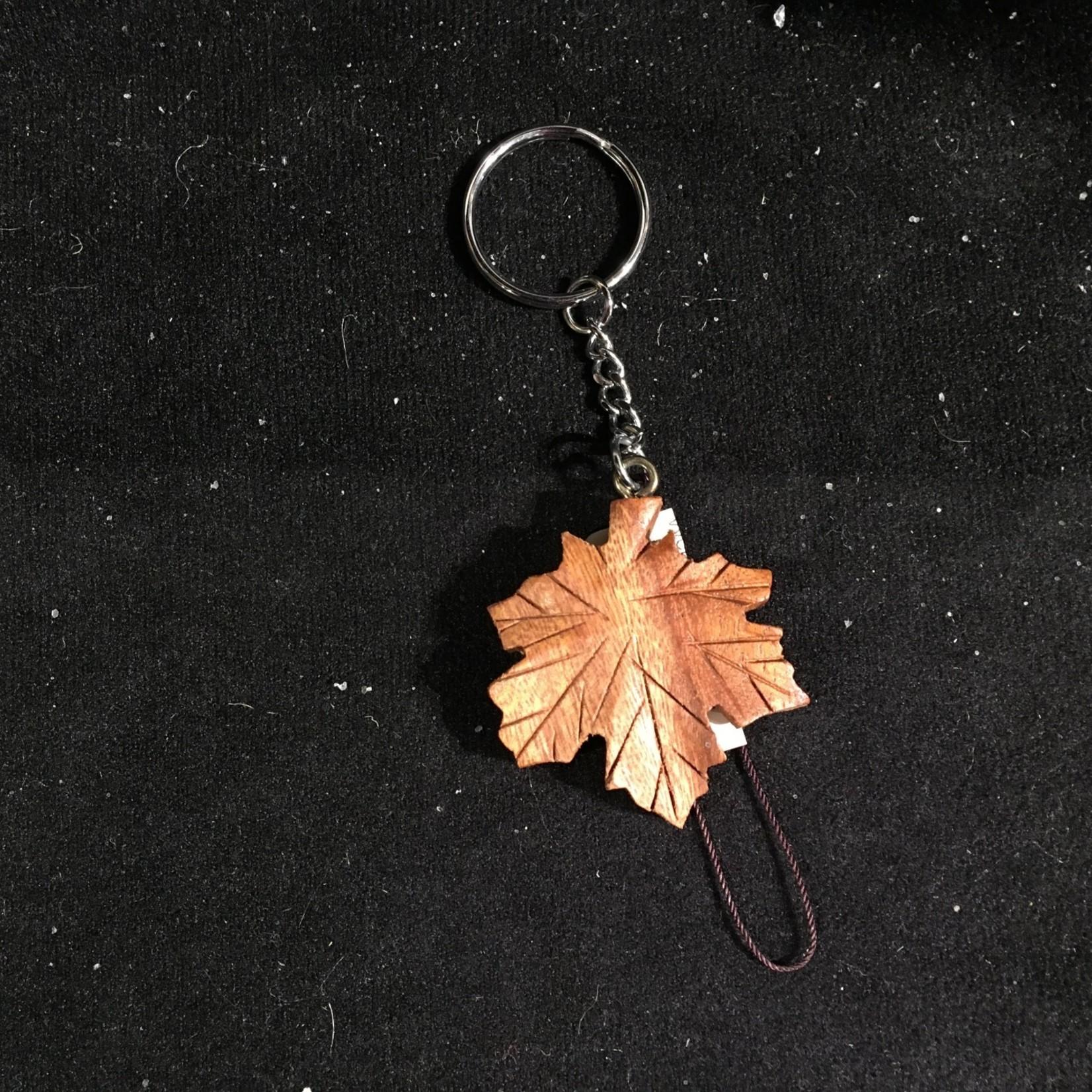 Natural Maple Leaf Mini Wood Key Chain