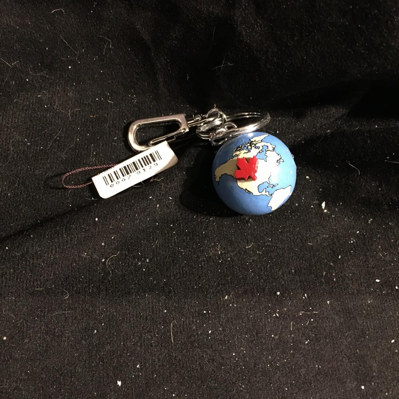 Globe w/Red Maple Leaf Key Chain