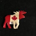 **Cdn Flag Moose Wood Magnet
