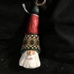 "5"" Carved Santa Orn w/Checkerboard Trim"