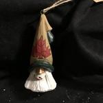 """5"""" Carved Santa Orn w/Maple Leaf"""