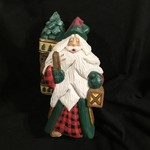 "12"" Carved Santa Lighting the Pathway"