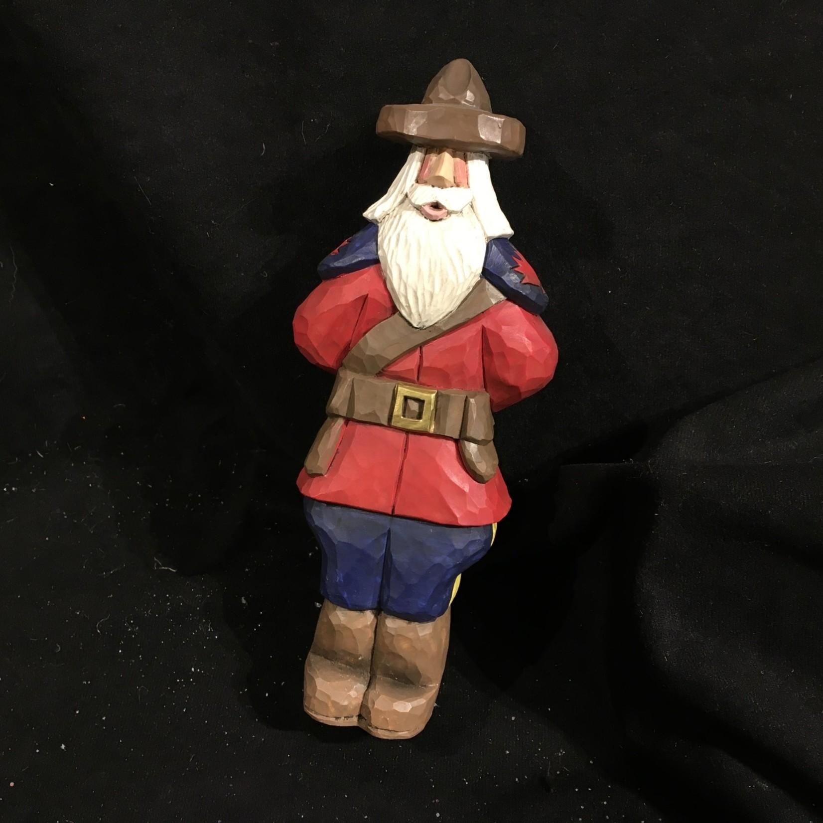 "9"" Carved Mountie Santa"