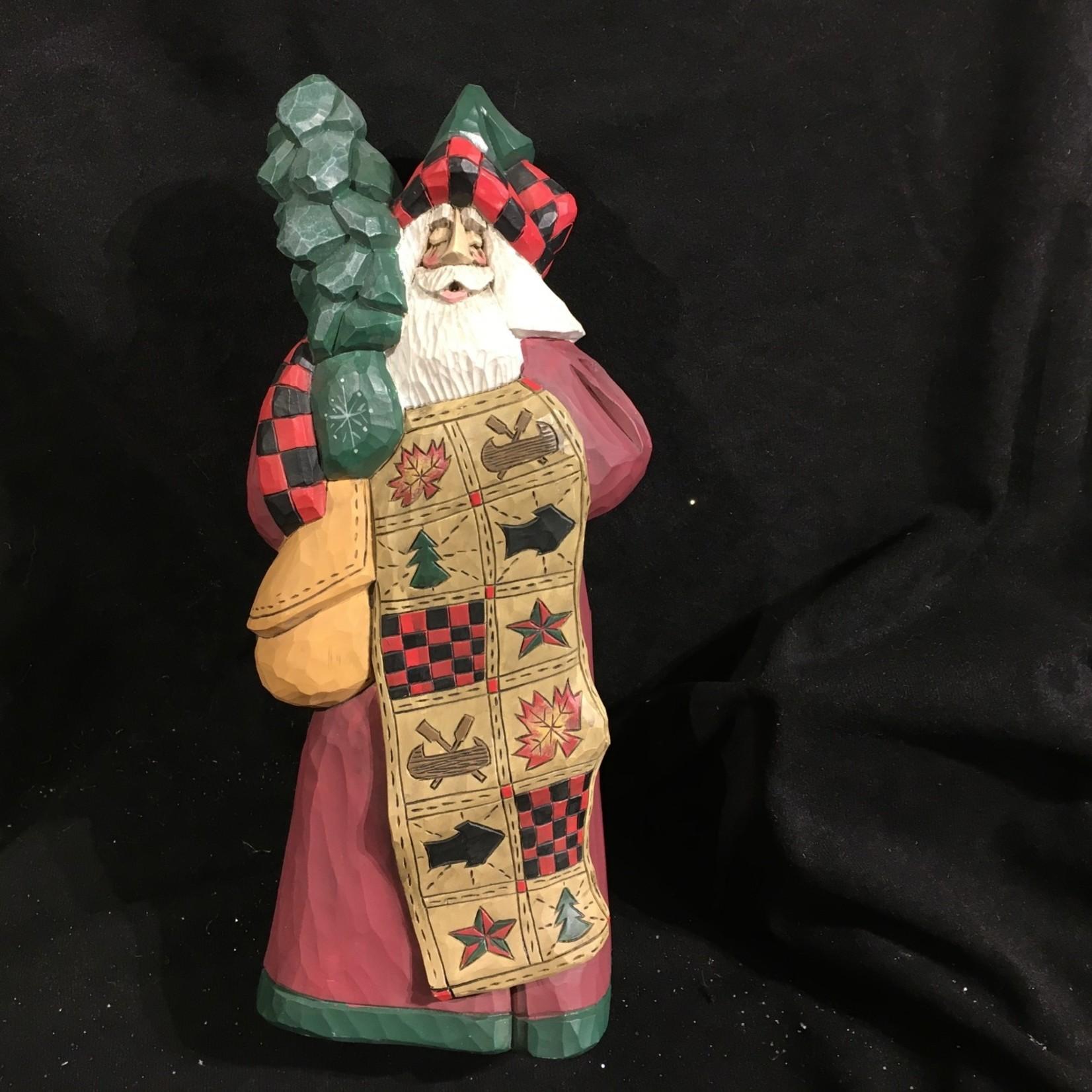 """12"""" Lodge Comfort Quilt Carved Santa"""