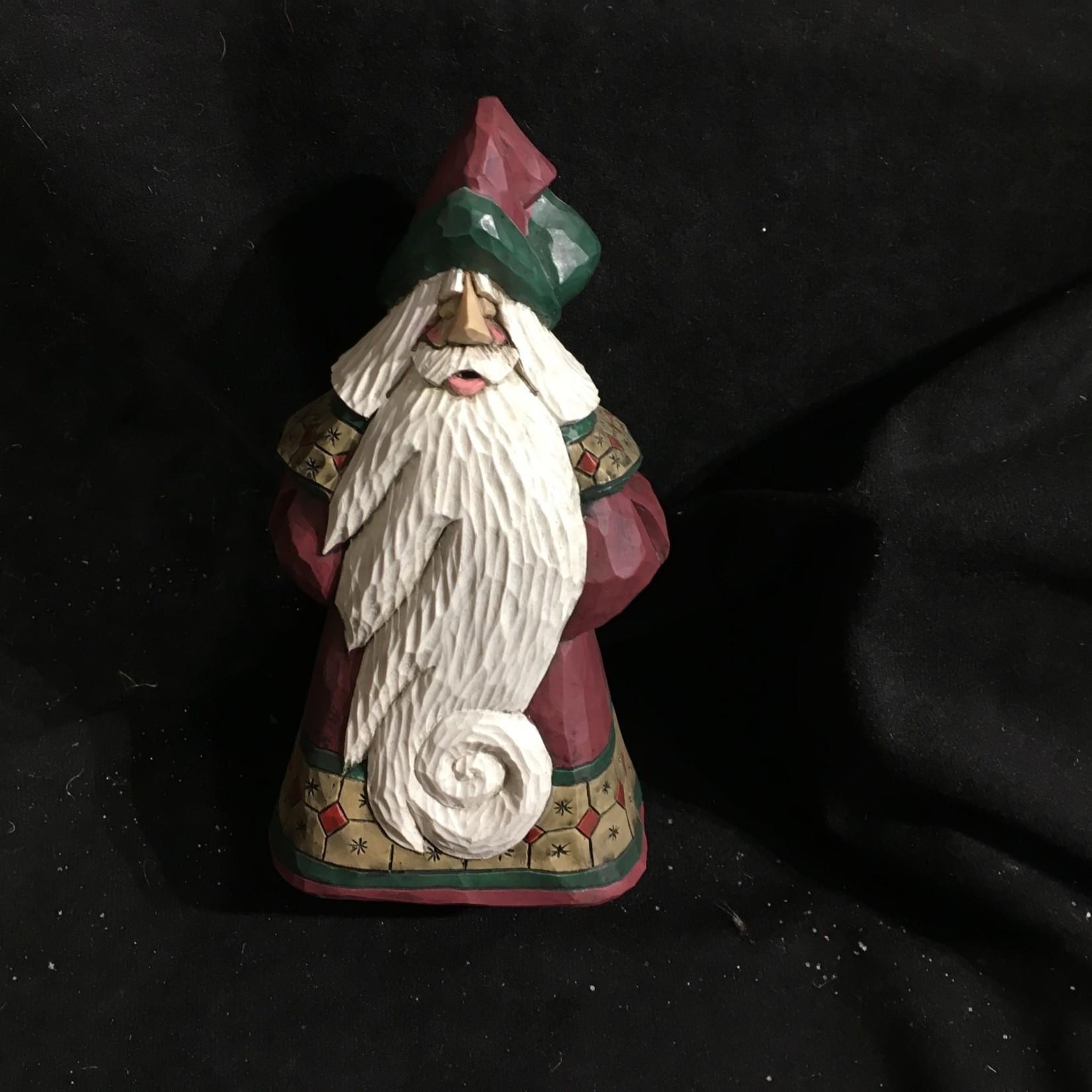"7"" Carved Santa w/Curly Cue Beard"