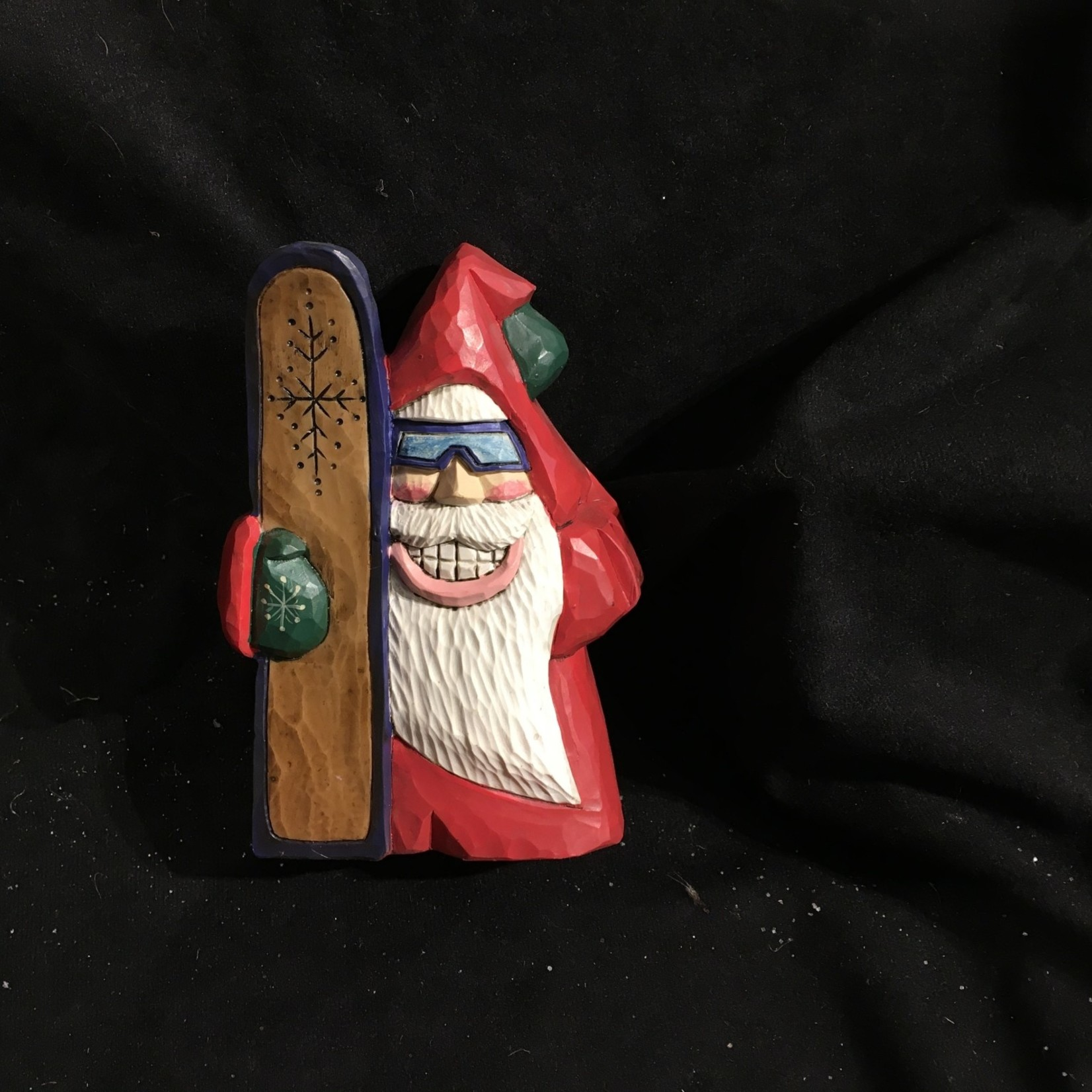 "6"" Carved Snowboarder Santa"