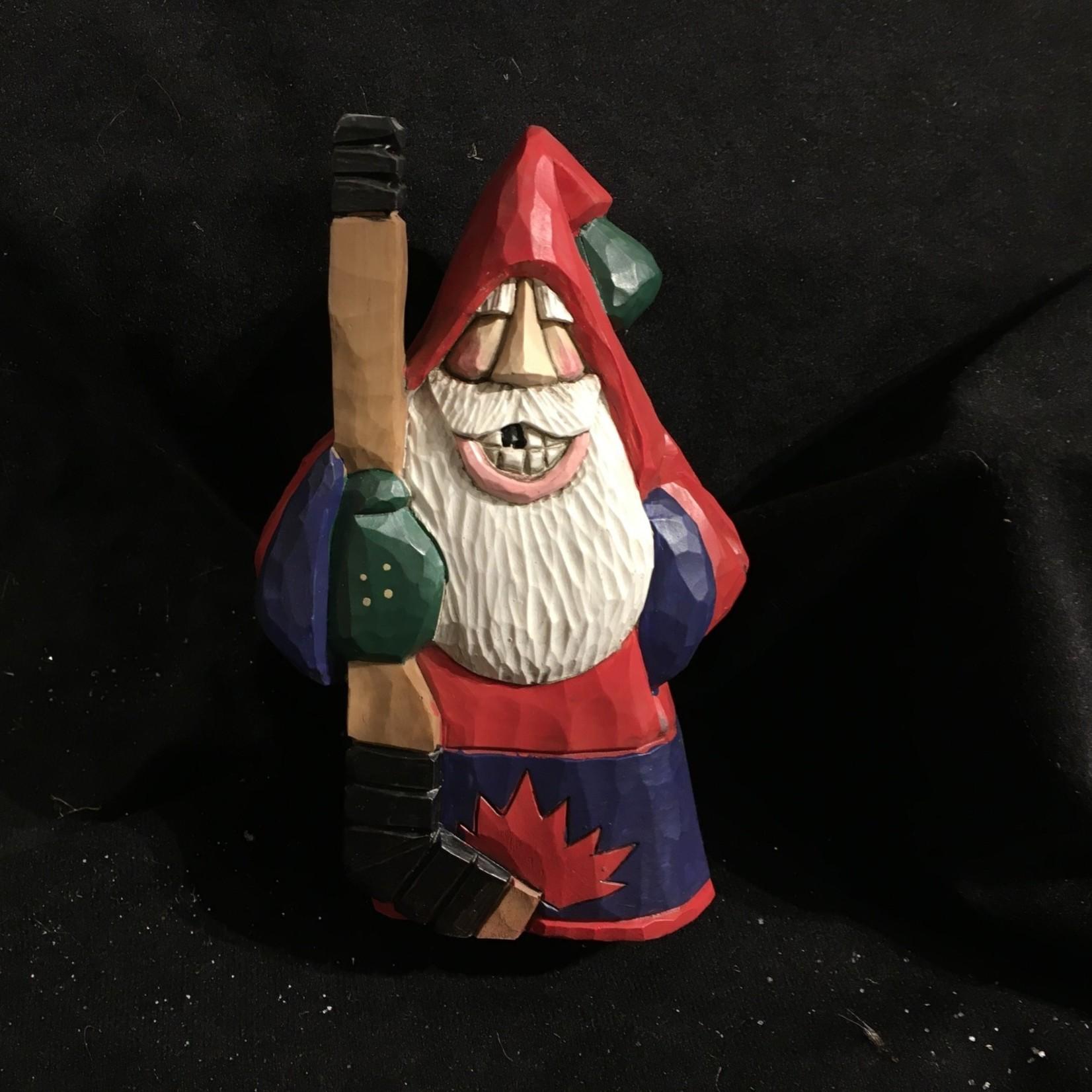 "6"" Carved Canadian Hockey Santa"