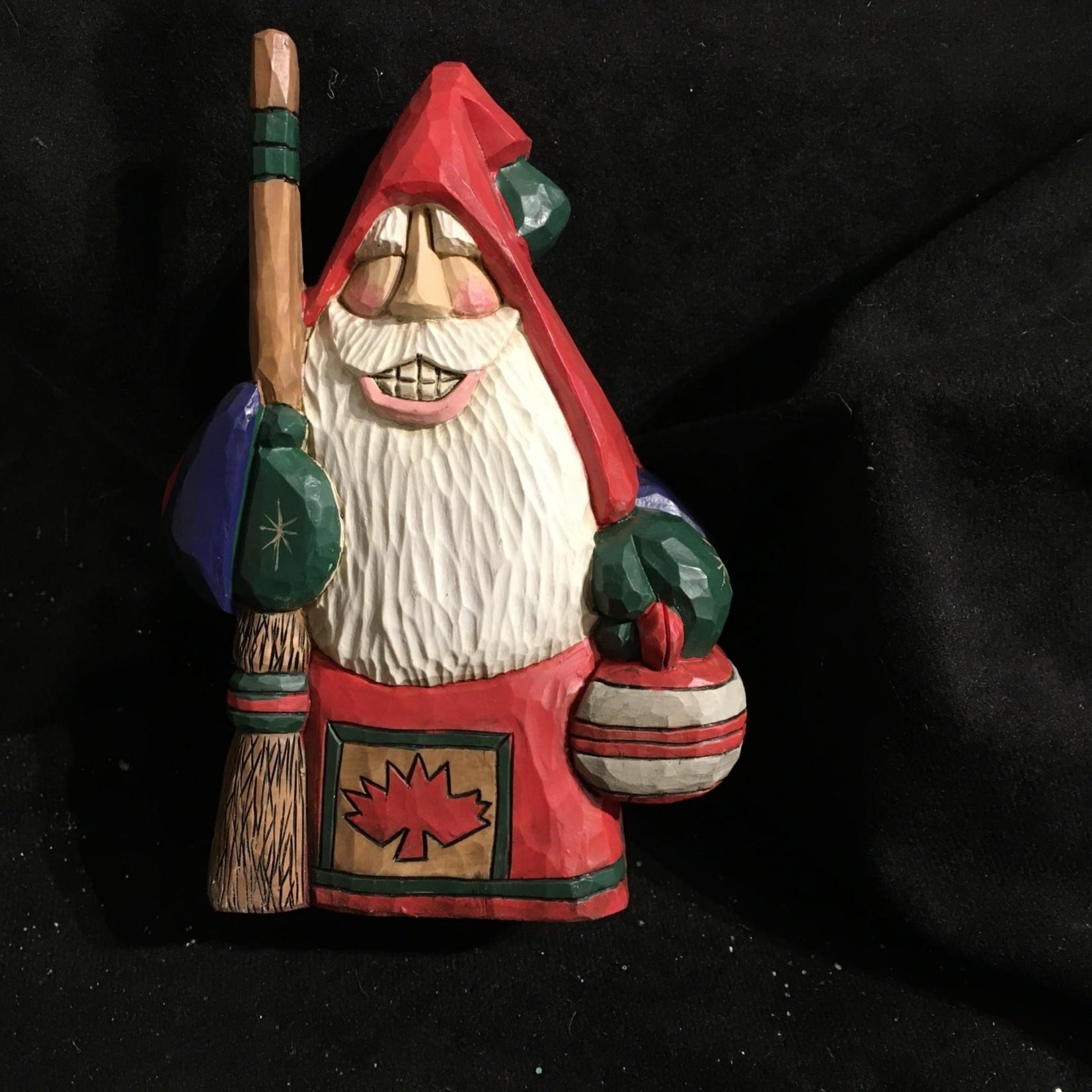"""6"""" Carved Canadian Curler Santa"""