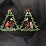 Wood Tree w/Animal Ornament 2A