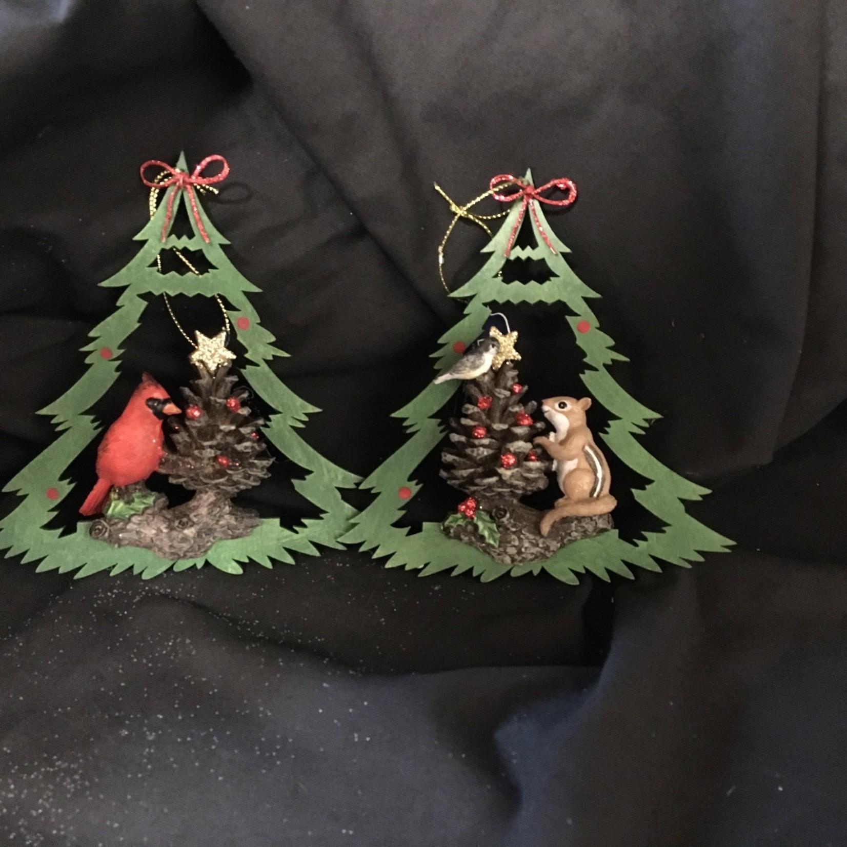 **Wood Tree w/Animal Ornament 2A