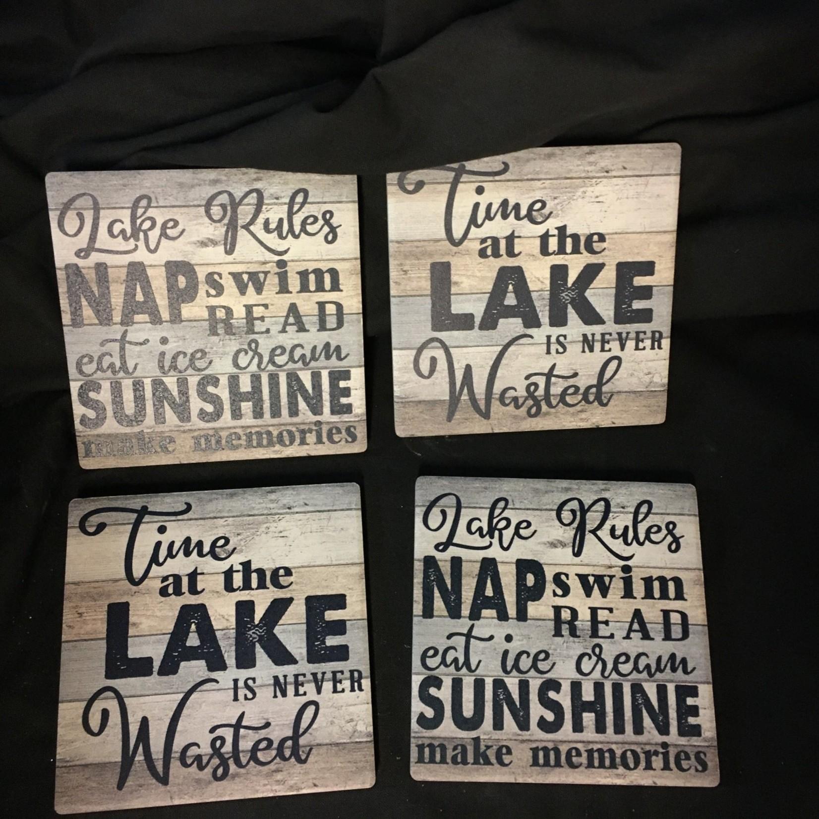 Lake Rules Stoneware Coasters (4 pk)