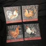 Chalk Rooster Stoneware Coasters (4 pk)
