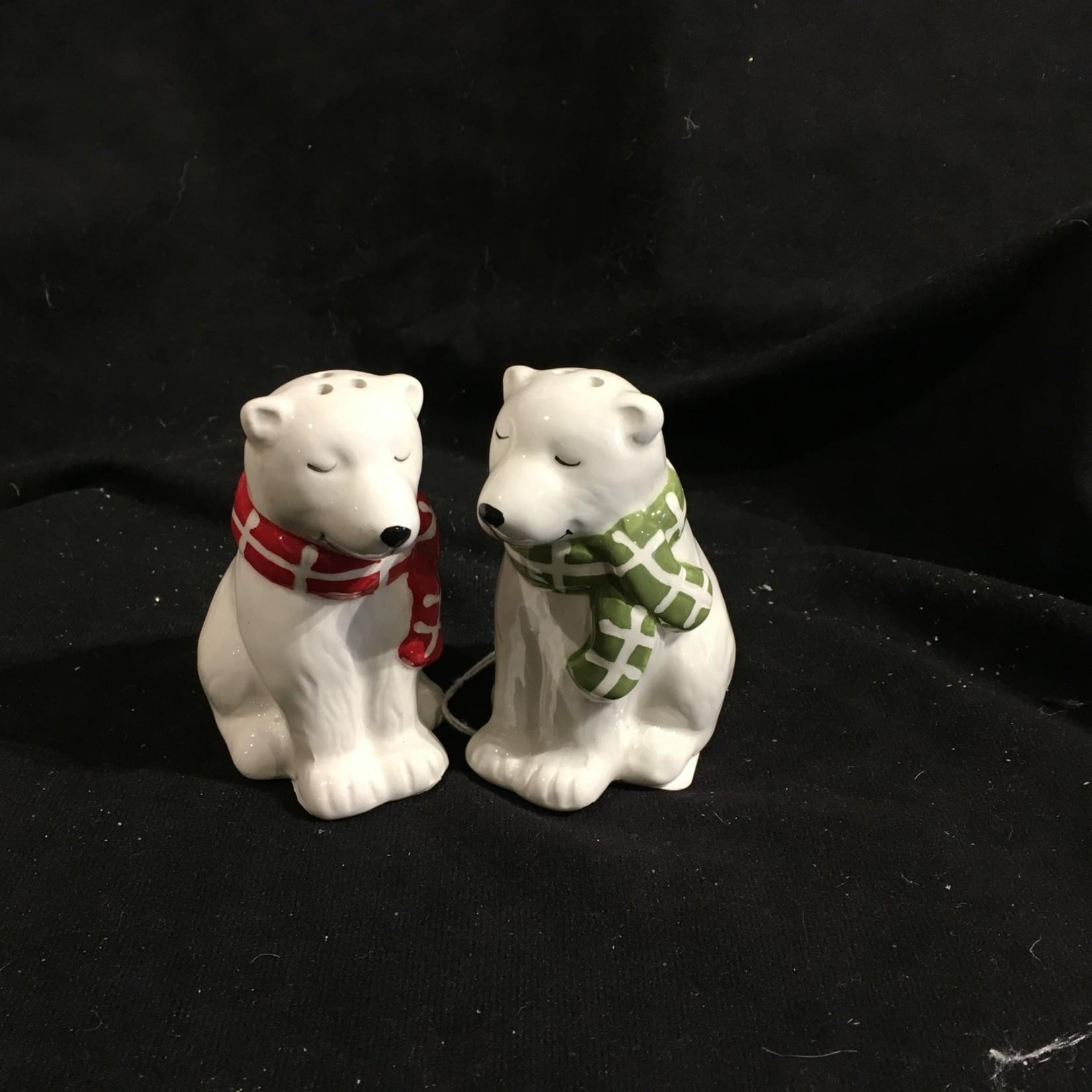 Polar Bears w/Plaid Scarf Salt & Pepper
