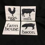 Farmhouse Stoneware Coasters (4 pk)