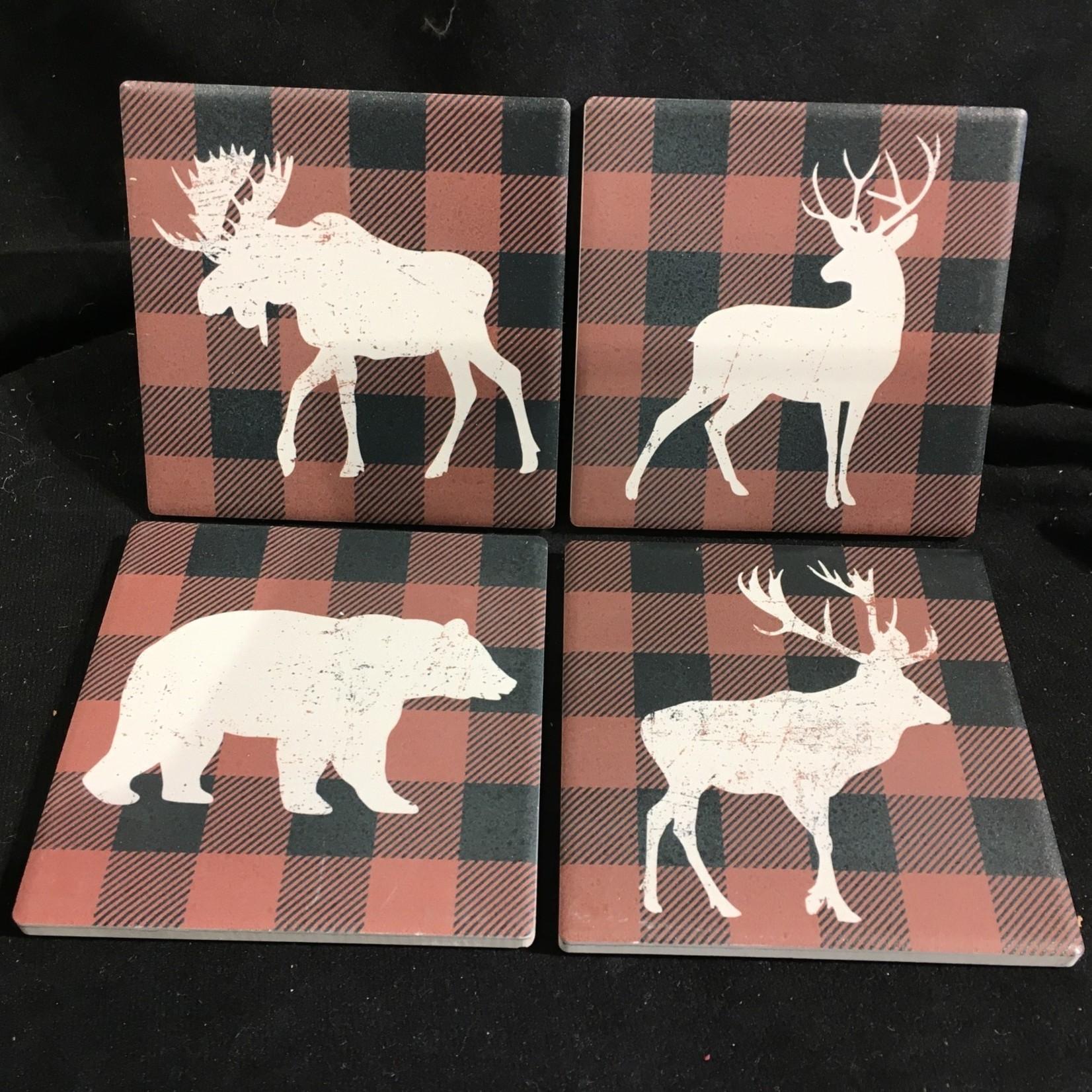 Plaid Animal Coasters (4 pk)