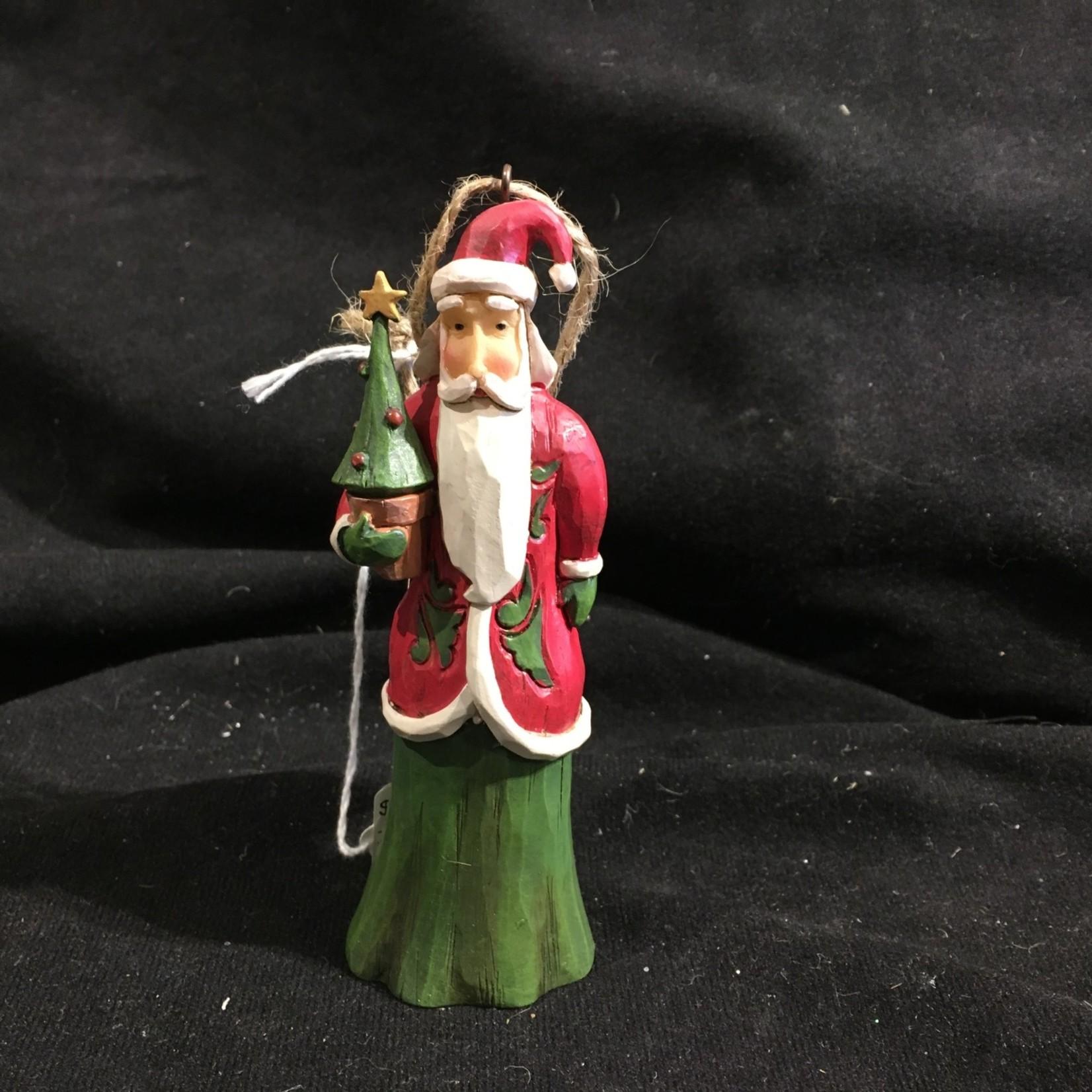 """Jim Shore - 5"""" Folklore Santa w/Tree Orn"""