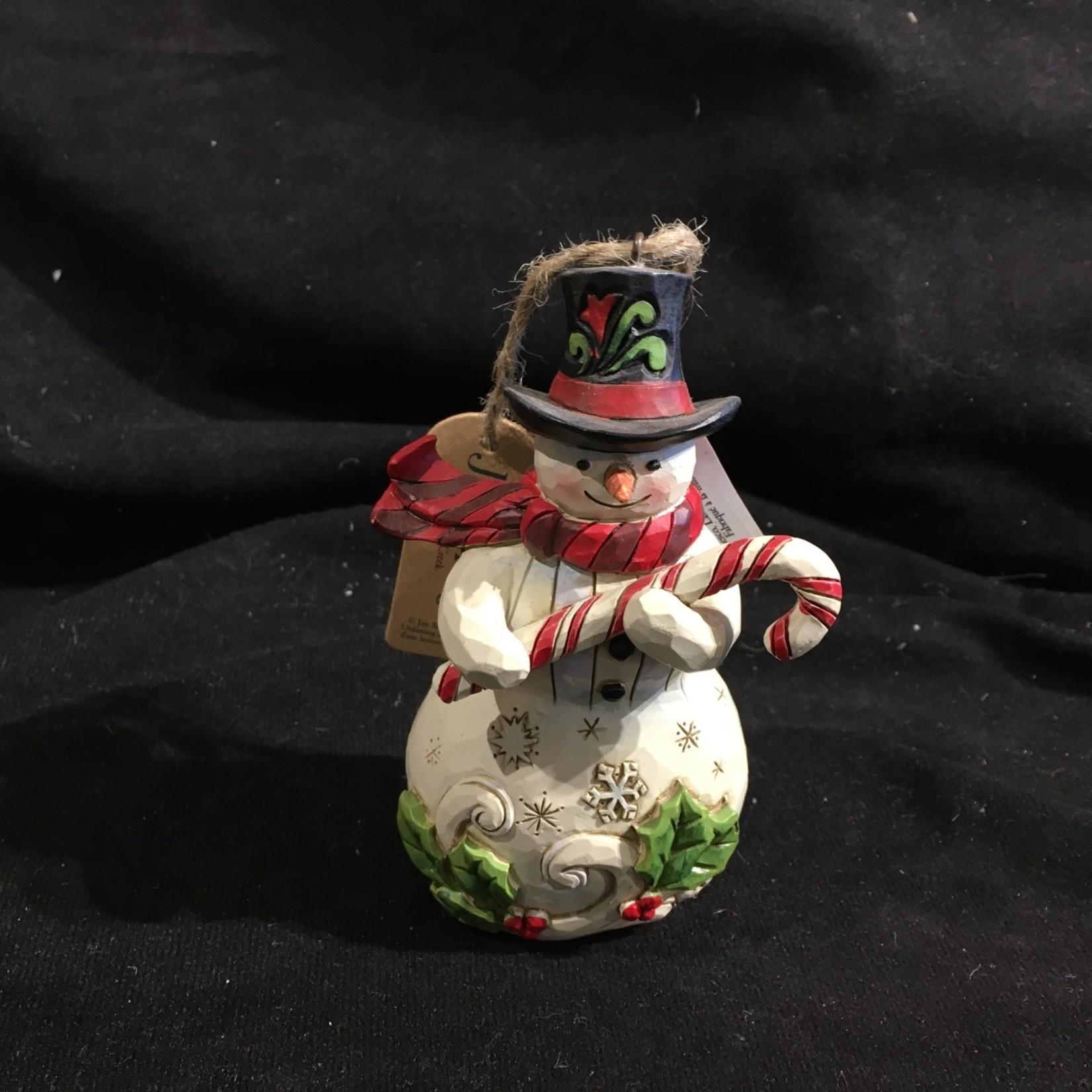 "Jim Shore - 5"" Snowman w/Candy Cane Orn"