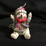 "Jim shore - 4"" Sitting Snowman Ornament"