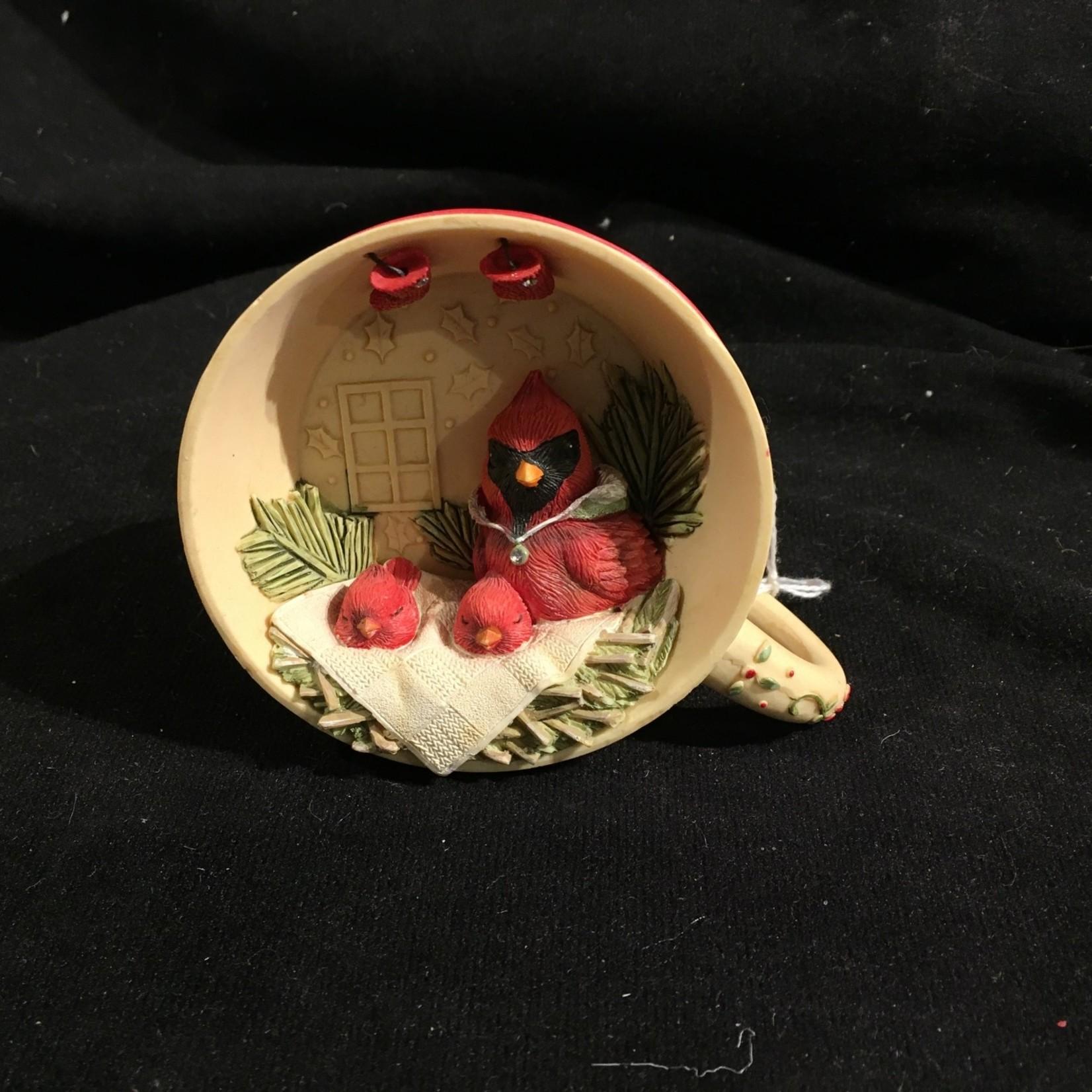 Cardinals in Teacup Figurine