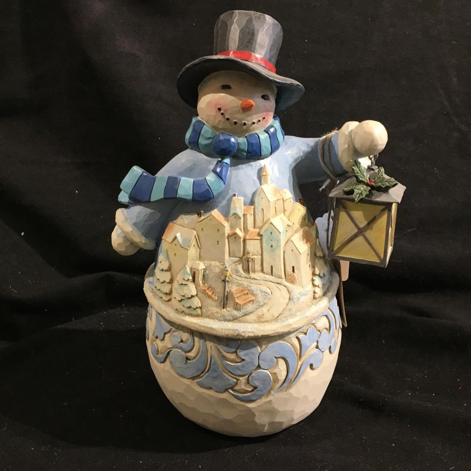 "Jim Shore - 9.5"" Snowman w/Village"