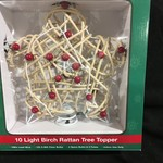 "10"" Lit Birch Rattan Treetopper"