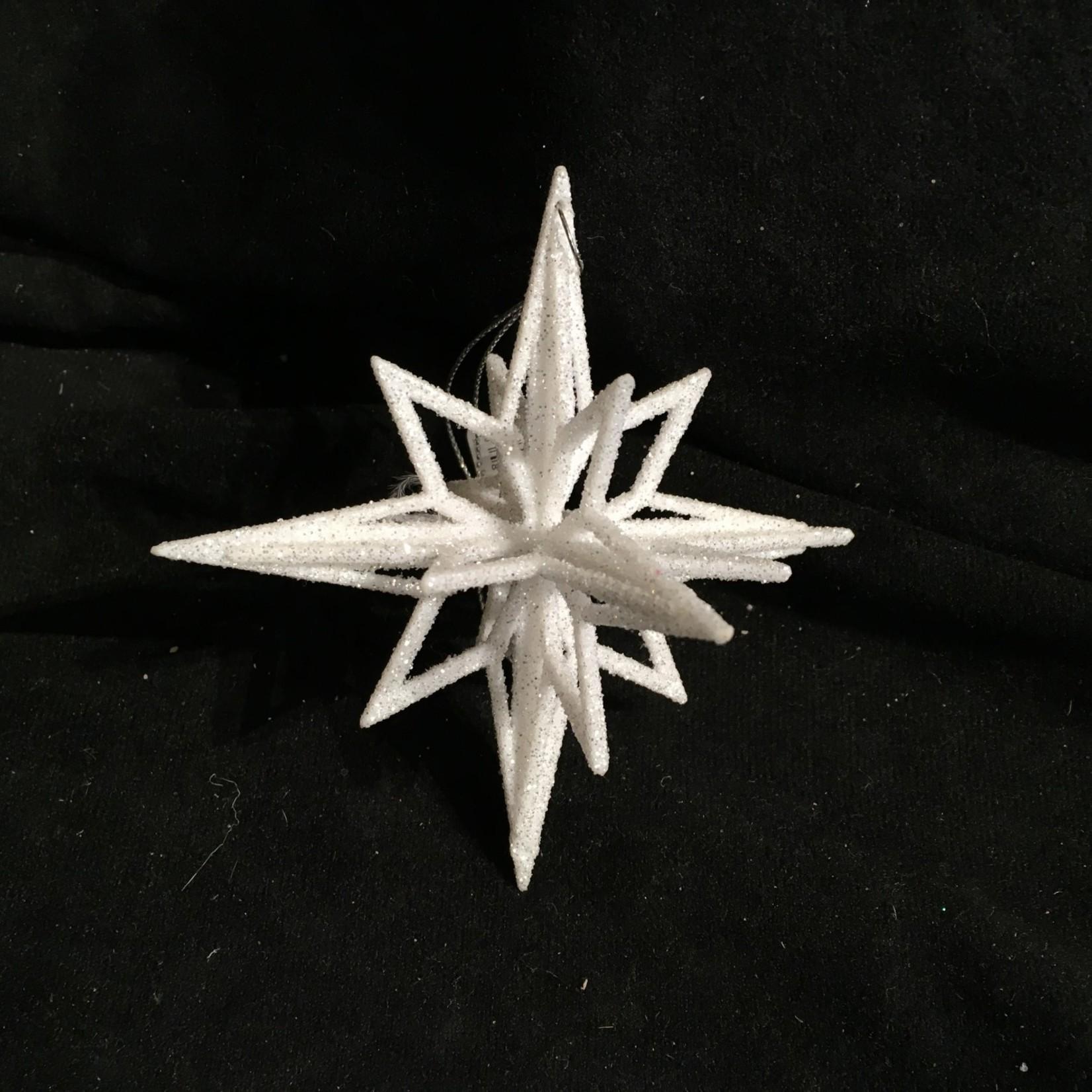 **White Glitter Star Ornament