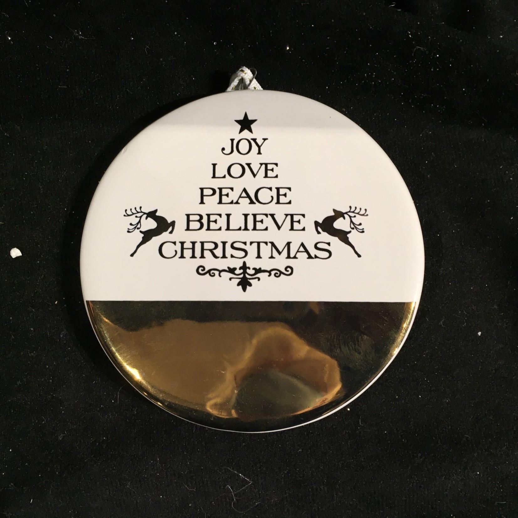 Gold Ceramic Disk w/Greeting