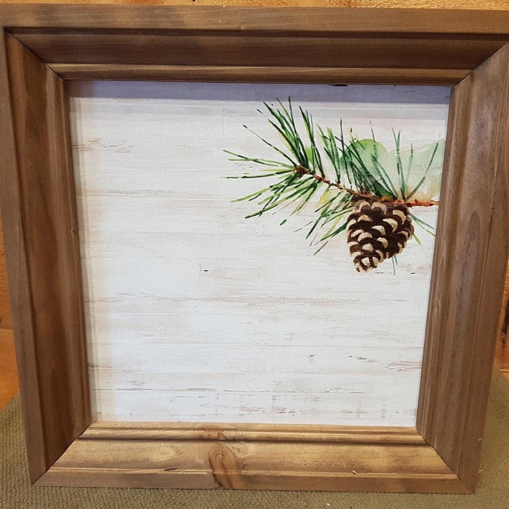 Framed Pine Cone Sign