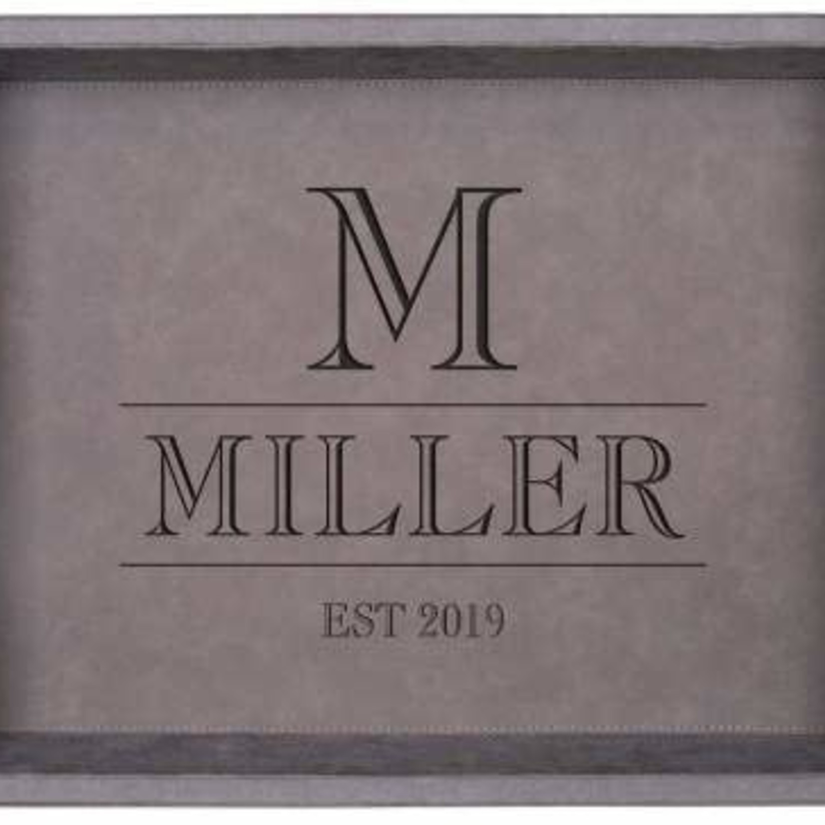 Gray Faux Leather Tray 16x12""