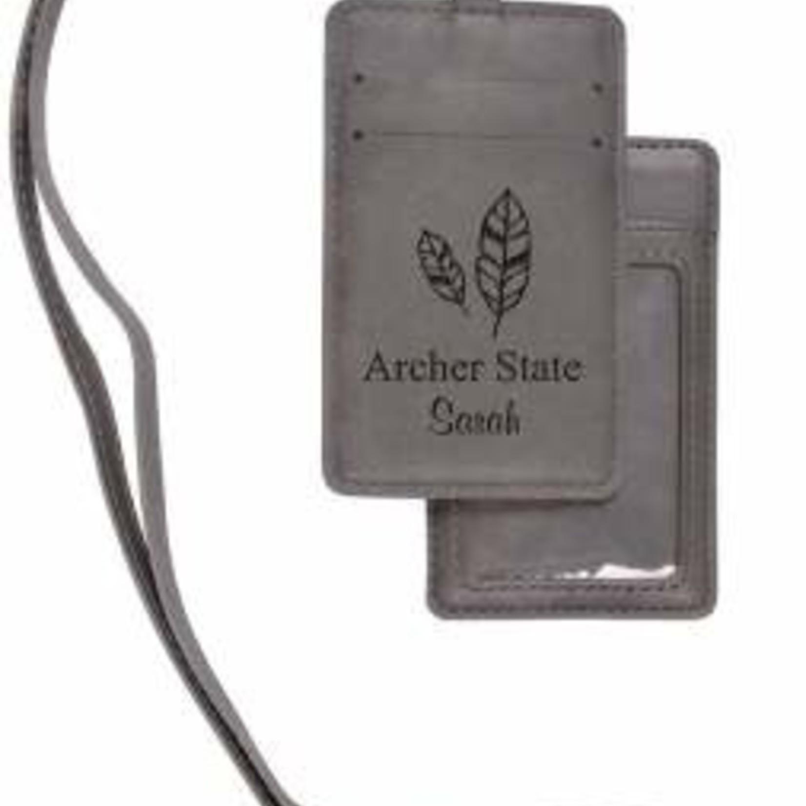 Leather ID Holder w/Lanyard