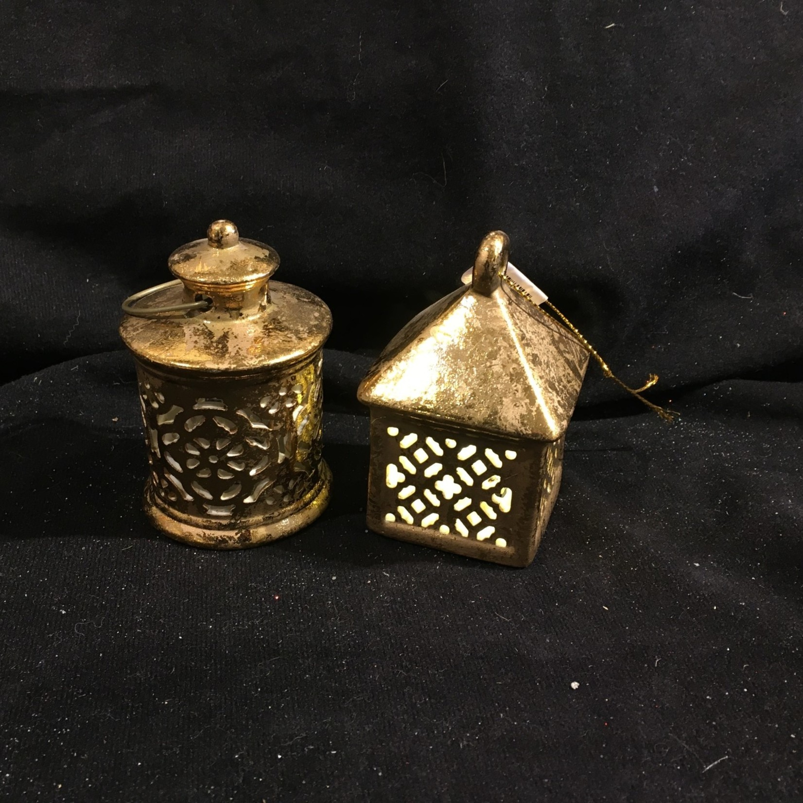 LED Gold Lantern Orn 2A