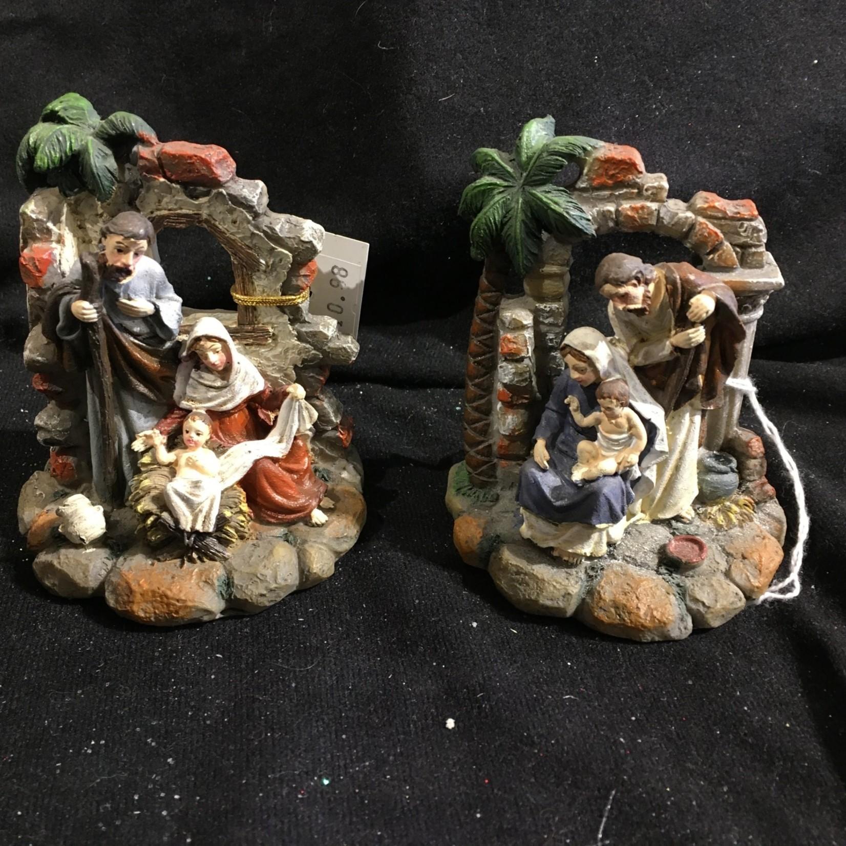 """3.5"""" Holy Family w/Palm Tree Figurine 2A"""