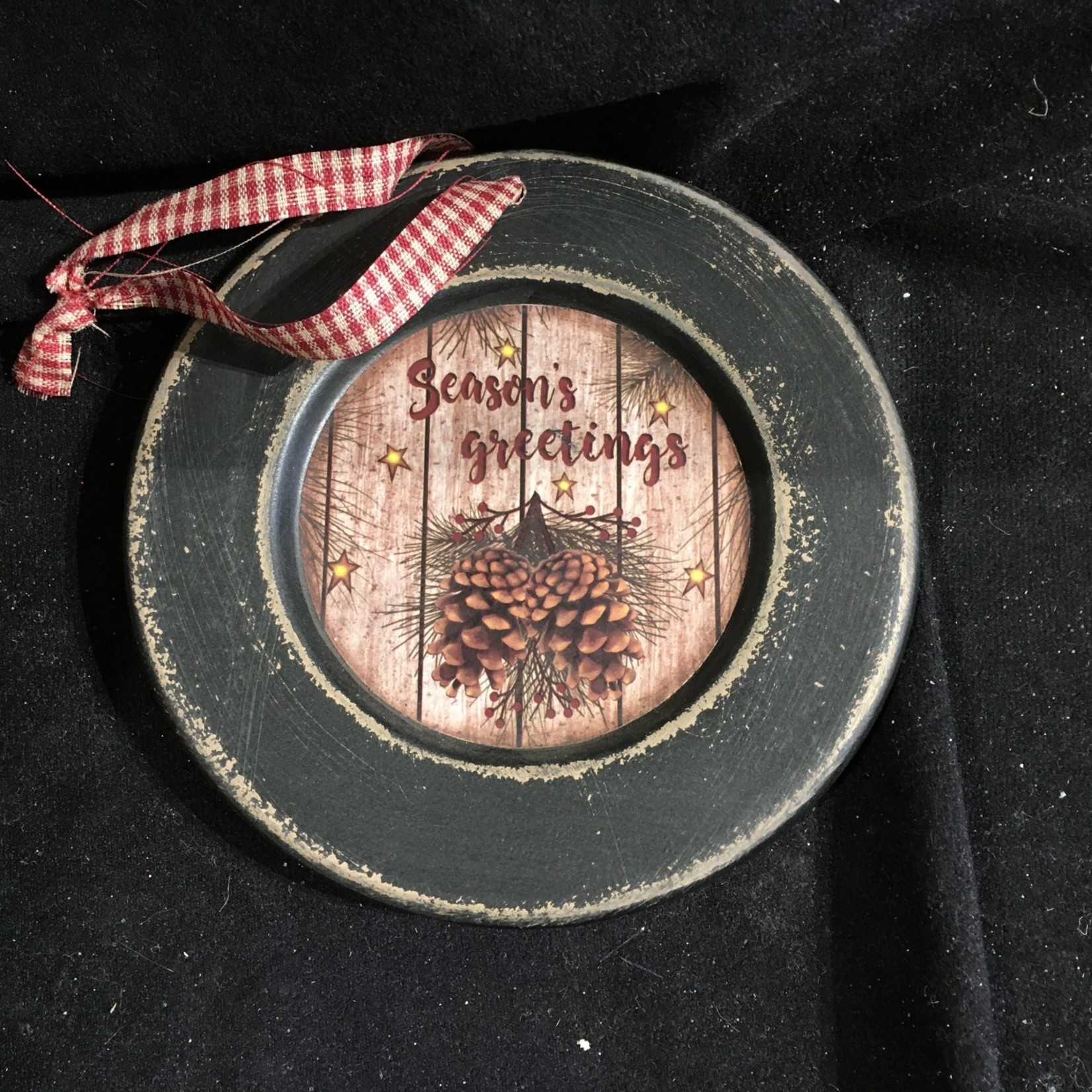 "5.75"" Round Folk Pinecone Orn"