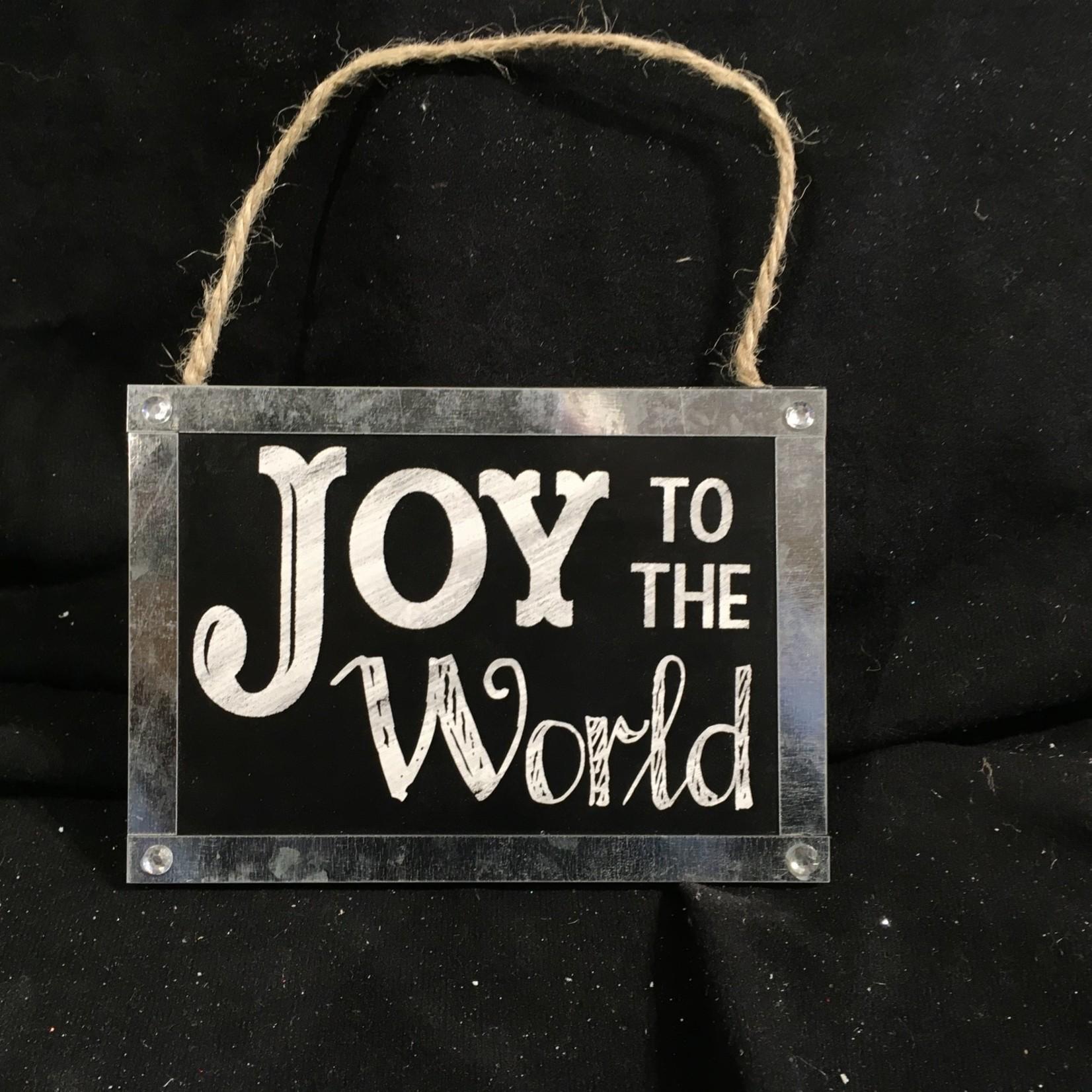 "**5.75x4"" Chalkboard Joy To The World Plaque"